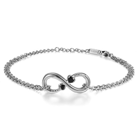Boniskiss Stainless Steel Bracelet with Zircon Heart Infinity Love for Women