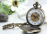 Boniskiss Antique Bronze Hollow Case Retro Roman Numerals Dial Mechanical Pocket Watch Necklace Pendant