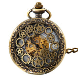 Boniskiss Classic Antique Half Hunter Metal Hollow Gear Wheel Skeleton Hand Wind Mechanical Pocket Watch with Chain