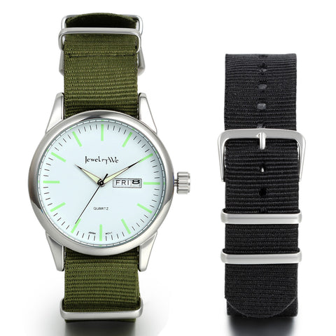 Boniskiss Japanese Quartz Analog Nylon Strap Watch with Auto Day Date