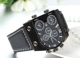 Boniskiss Mens Oversize 3 Time Zone Military Sport Leather Quartz Watch Christmas Gifts