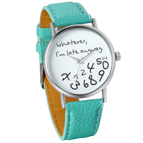 Boniskiss Female Women Ladies Girls Whatever, I'm late anyway Love Gift Leather Strap Watches Quartz Wrist Watch