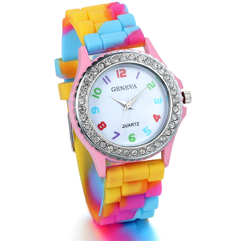Boniskiss Girl Watch with Colorful Silica Gel Band