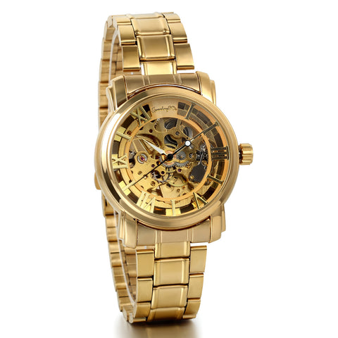 Boniskiss Luxury Gold Tone Stainless Steel Band Skeleton Automatic Mechanical Men's Wrist Watch
