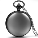 Boniskiss Classic Smooth Surface Black Tone Pocket Watch Necklace with 32 Inches Chain