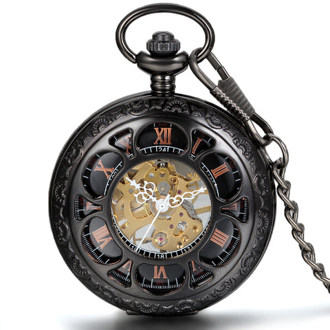 Boniskiss Half Hunter Pocket Watch with Chain Black Dial Steampunk Mechanical Hand Wind Movement