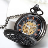 Boniskiss Classic Hand-wind Mechanical Pocket Watch Skeleton Black Hollow Spider Web Case with Chain Belt