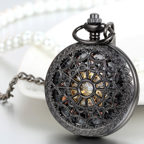 368f263c9 ... Boniskiss Classic Hand-wind Mechanical Pocket Watch Skeleton Black  Hollow Spider Web Case with Chain