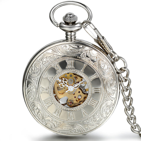 Boniskiss Silver Half Hunter Classic Hand Wind Mechanical Roman Pocket Watch with 15 Inches Chain