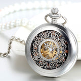 Boniskiss Classic Silver Hollow Floral Carved Roman Numerals Mechanical Pocket Watch with 15 Inch Chain