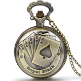Boniskiss Steampunk Antique Royal Flush Poker Cards Pocket Watch with 31.5 Inches Chain for Women Men