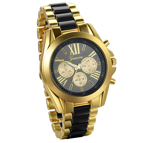 Boniskiss Birthday Gift Men's Roman Numbers Dial Two-Tone Stainless Steel Dress Watch