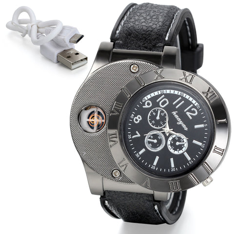 Boniskiss Mens Novelty Quartz USB Lighter Digital Watch Black