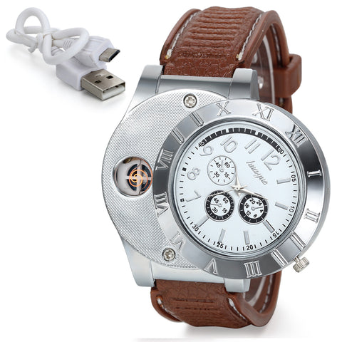 Boniskiss Mens Novelty Quartz USB Lighter Digital Watch Silver