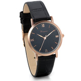 Boniskiss Classic Leather Strap Round Dial Clock Quartz Wrist Watch Black