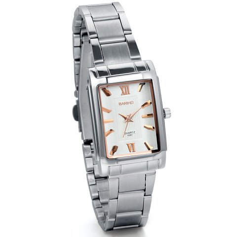 Boniskiss Women's Classic Square Quartz Wristwatch Silver Stainless Steel Bracelet Watch