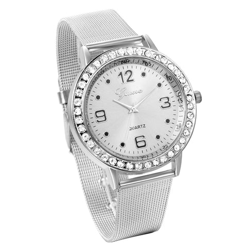 Boniskiss Women's Fashion Silver Tone Stainless Steel Mesh Watch Quartz Analog Wristwatches