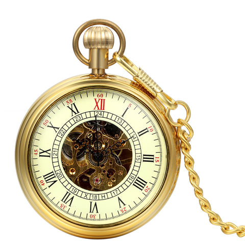 Boniskiss Men Open Face Gold Tone Skeleton Hand Wind Mechanical Pocket Watch Roman Numbers 13.8 Inch Chain