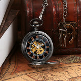 Boniskiss Hunter-case Pocket Fob Watch Mechanical Black Dial Celtic Knot Hollow