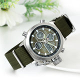 Boniskiss Men Analog Digital Dual Time Military Wrist Watch LED Multifunction Sport Watches Army Green