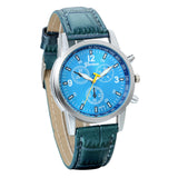 Boniskiss Business Casual Mens Quartz Wrist Watch Blue Dial Leather Strap Watches