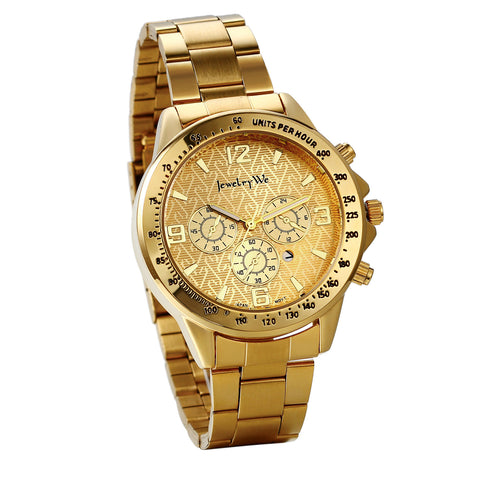 Boniskiss Stainless Steel Gold Watch Calendar