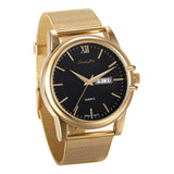 Boniskiss Mens Golden Dress Watch Day Date Calendar and Stainless Steel Mesh Strap