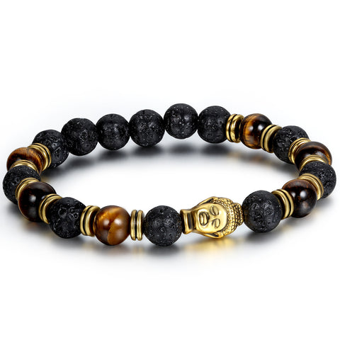 Boniskiss 8mm Wood Beads Buddhist Bracelet Mala Religious Prayer with Buddha Head