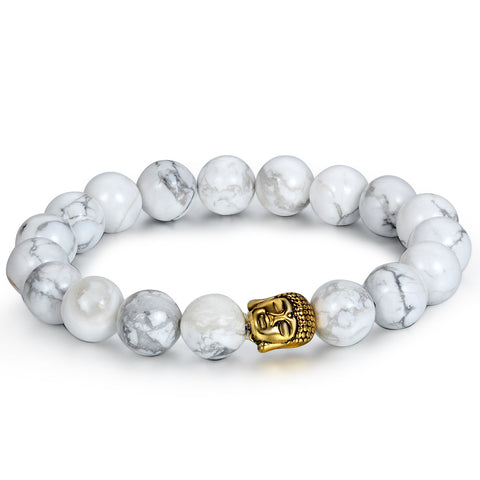Boniskiss 10mm White Turquoise Beads Buddhist Bracelet Religious Hand Chain with Buddha Head Gold
