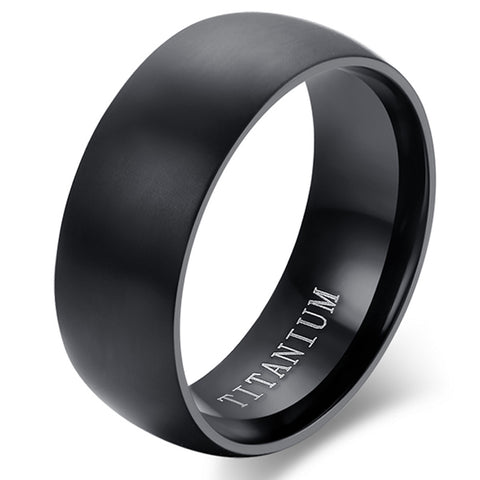 Boniskiss Mens Titanium Ring Wedding Ring Black