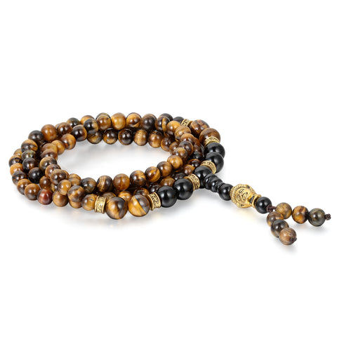 Boniskiss 6mm Tiger Eye Beads Buddhist Bracelet Buddha Mala Wrist Chain with Buddha Head