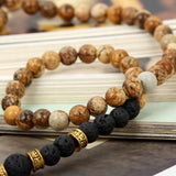 Boniskiss 6mm Lava Rock Stone Beads Buddhist Bracelet Wrap with Buddha Head