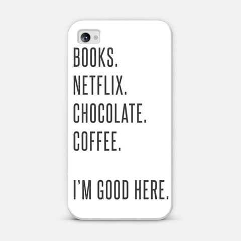 Book, Netflix, Chocolate, Coffee iPhone 4/4s Case - Edmotic