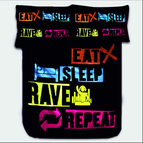 EAT SLEEP RAVE REPEAT BEDSHEET - Edmotic - 1