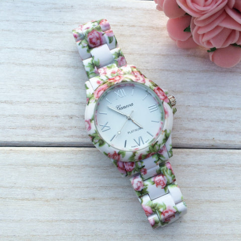 White Floral Watch - Edmotic - 1
