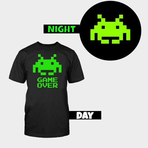 GLOW IN DARK SPACE INVADER T-SHIRT - Edmotic