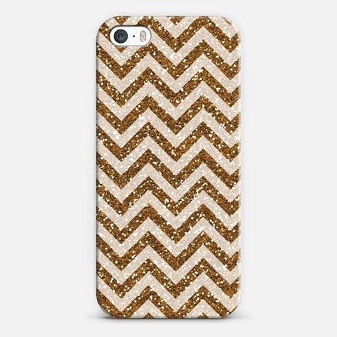 Sparkling Brown Glitter Chevron iPhone 5/5s Case - Edmotic