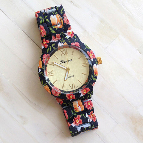Black n Pink  Floral Watch - Edmotic - 1
