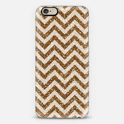 Sparkling Brown Glitter Chevron iPhone 6 Plus Case - Edmotic