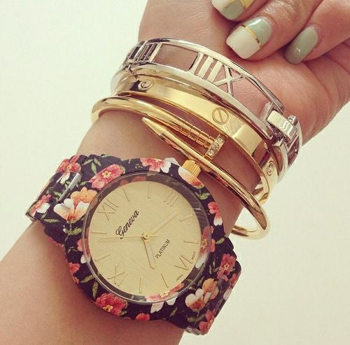 Black n Pink  Floral Watch