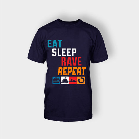 EAT SLEEP RAVE REPEAT T-SHIRT BLUE - Edmotic