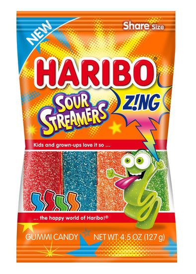 Haribo Zing Sour Streamers 4.5oz Bag