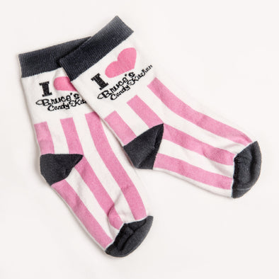Youth Pink and White Striped Socks