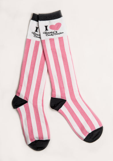 Adult Pink and White Striped Trouser Socks