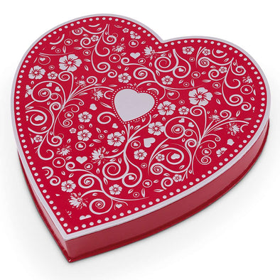 Red & Silver Embossed Heart Box