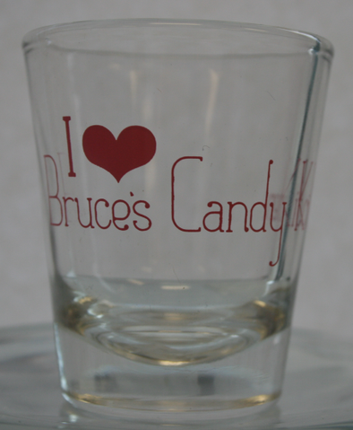 I Heart Bruce's Candy Kitchen Shot Glass