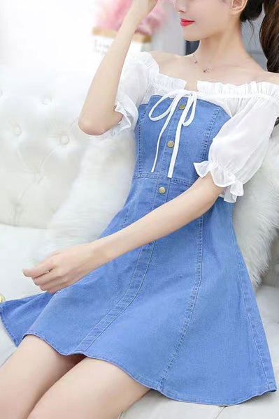 Frilled Faux Layered Denim Dress