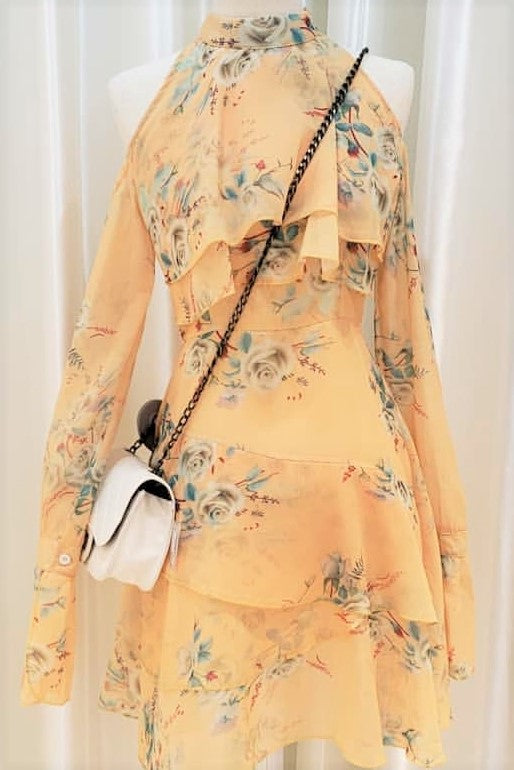 Mock Neck Floral Print Cold Shoulder Dress