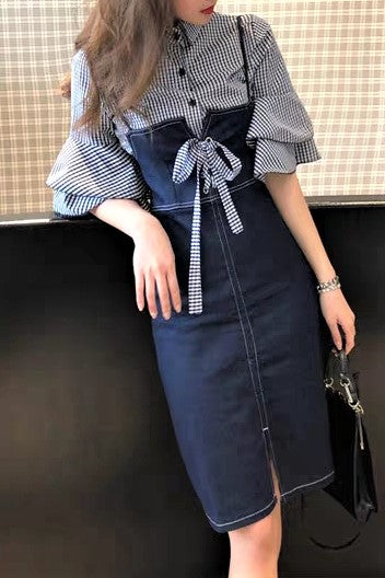 Check Printed Shirt  Two Piece Denim Dress