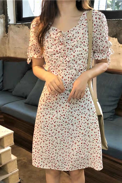 Drawstring Neckline Floral Print Short Sleeve Dress